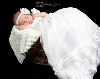 White Rosette Christening Gown, Sparkling Rhinestone Belt, 0-3 months, 3-6 months, 6-9 months, 9-12 months, 12-18 months, 18-24 months