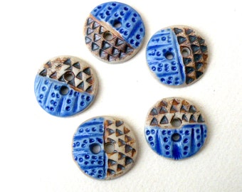 Ceramic Buttons, Blue and Brown  Porcelain Sewing Buttons