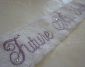 Lavender Purple Lace Bridal Sash - Light Purple and White Bachelorette Sash - Customizable Bacelorette Sash