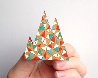 SALE / Geometric mountain inspired brooch / Triangle brooch / Triangle pattern / Red, aqua, blue and white / Handmade wooden brooch