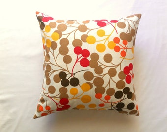 Brown Pillow Cover - White Linen with Brown Orange Mustard Yellow and Red Circles Print - Home Decor - 18x18 - Gift for Her - Ready to Ship