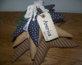 Primitive Stacked Fabric Stars Patriotic Americana Decor