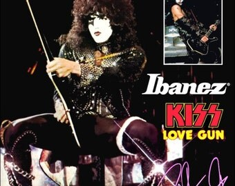 KISS Collectible Memorabilia - Paul Stanley Ibanez Black PS10 ALIVE II Era Stand-Up Display Guitars Concert Posters Frameable Dynasty