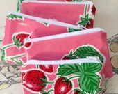 "NEW Retro Oilcloth Coin Purse Zipper Pouch Cosmetic Makeup Bag Pink Strawberries and White Oilcloth 3.5"" x 5.5"""