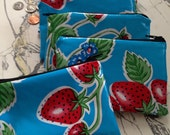 "NEW Retro Oilcloth Coin Purse Zipper Pouch Oilcloth Lined Strawberries and Gingham 3.5"" x 5.5"""