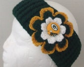 Green Bay Packer headband crocheted  in green gold and white