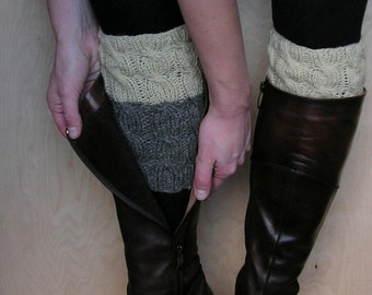 2 in 1 Boot Cuffs -  CREAM and DARK GRAY - Hand knit boot cuffs Cable knit Wool Boot toppers Leg warmers