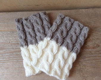 Boot Cuffs Knit 2 ways to wear Taupe with White Grey Red Leg warmers Cable knit  Boot Toppers  Knit Boot Socks