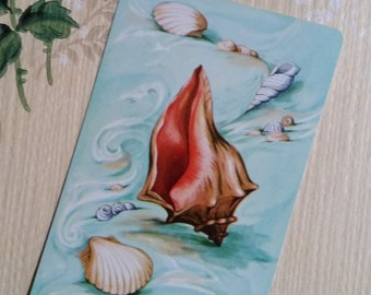 Gorgeous Vintage Aqua Conch Sea Shell Playing Cards