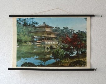 Vintage school pull down chart map Japan Kyoto golden temple geography West German print