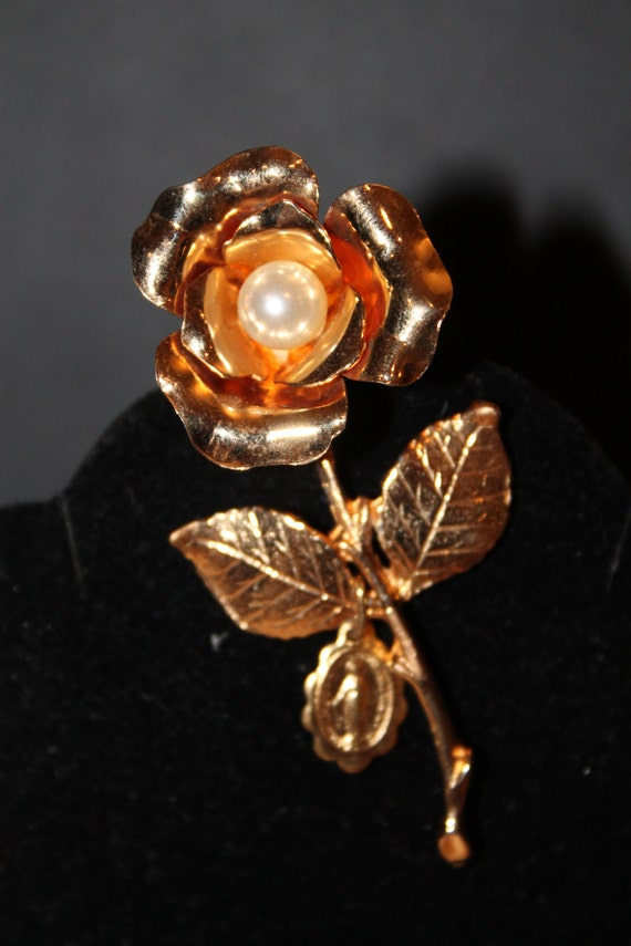 Vintage Gold Figural Rose  with Religious  Charm Flower Brooch with Pearl