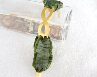 Olive Green Bracelet, Ribbon Bracelet, Gold Bracelet,  Eternity Bracelet