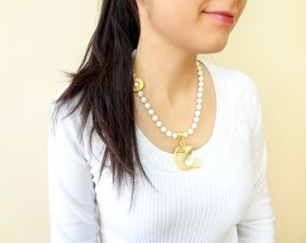 White Onyx Necklace, Wedding Jewelry, Fish Pendant Necklace, Gemstone Necklace, Gold Necklace, Wedding Necklace