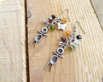 Multicolored Swarovski Crystal Earrings, Multicolored Earrings, Feminine Eearring, Best Friend Birthday,