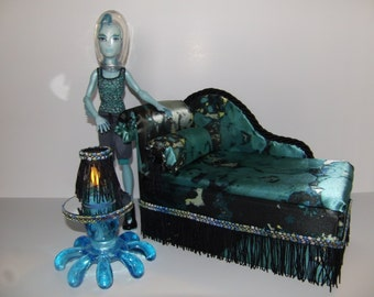 Furniture for Monster High Dolls Handmade Chaise Lounge Bed for Gil with Bolster Pillow  Octopus Table and Working Lamp
