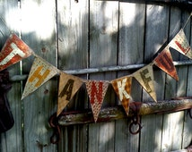 Wooden Banner / Art Adhered To Wood / 3 Foot 6 Inches In Length / Lightweight Wood / 8 Flags Each Approx.5''x7''