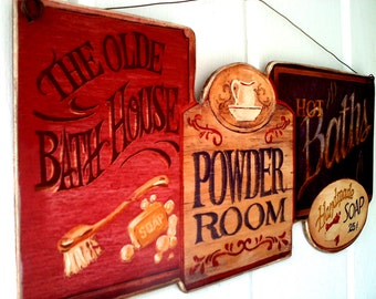 Olde Bath House, Powder Room, Hot Baths, Country Picture Plaque, Sign, Made in USA