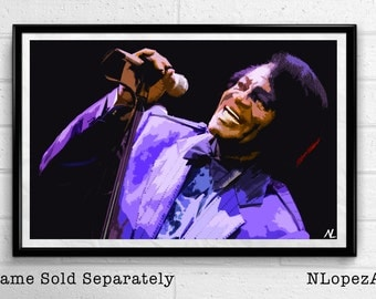James Brown Godfather of Soul Music Icon Pop Art Poster Print Canvas