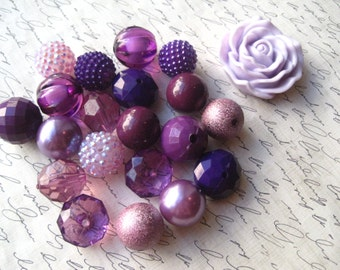 Purple Necklace Kit, Chunky Gumball Bead Kit, Bubblegum Necklace Kit, DIY Necklaces, Fun Kids Project