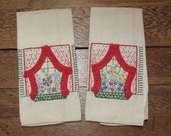 Pair  of Vintage Windows Embroidered Towels with Red Lace