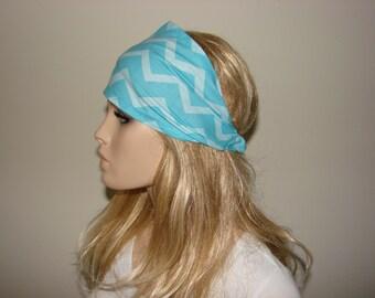 Blue Chevron Bandana Headband, White Head Scarf, Wide  Turban Headband, Yoga Headband, Woman tribal boho head wrap, bandana headband