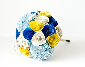 Bridesmaid or Bridal Bouquet with Hydrangeas, Roses, Brunia Berries made from Book Pages - IN YOUR COLORS - Alternative Wedding Flowers