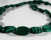 Green Malachite Oval Beads 13mm - 14mm Strand