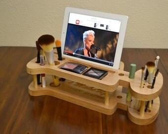 Valentine Gift for Her Make-up organizer, iPhone Dock, Make-up Station and iPad Dock - Station, iPhone, Tablet any Smartphone Beauty Station