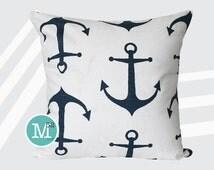 Navy Blue Anchors Pillow Cover - Many Sizes Lumbar, 12, 14, 16 - Zipper Closure - sc246l