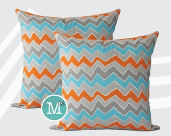 Mandarin Orange, Blue Grey Chevron Seesaw Zig Zag  Pillow Covers - 20 x 20 and More Sizes - Zipper Closure