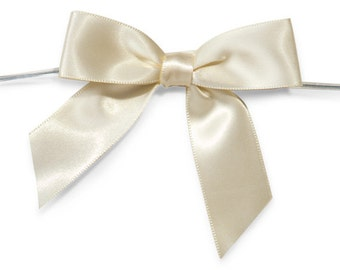 "Cream 3"" Pre-Tied Satin Bows with 5"" Twist Ties~ 7/8"" ribbon- Pack of 6"
