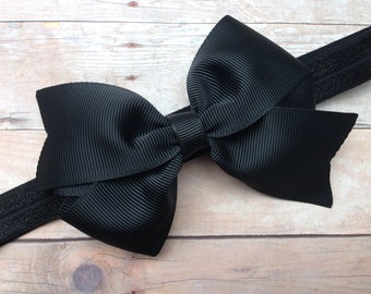 Black headband with 4 inch black bow- black baby headband, black newborn headband, bow headband