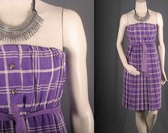 Strapless Dress purple checkered white plaid tartan pleated women S small