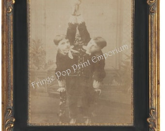 Victorian Sideshow Circus Freak Art Print 8 x 10 - Tocci Brothers - Siamese Twins - Conjoined