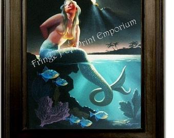 Blonde Mermaid Art Print 8 x 10 -  Pin Up on Rock - Ocean Pinup