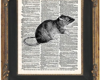 Victorian Rat Art Print 8 x 10 Dictionary Page - Surreal Goth Altered Art