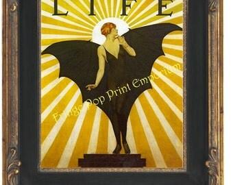 Bat Lady Flapper Print 8 x 10 - Art Deco Bat Woman - Pin Up - Jazz Age - Roaring 20s