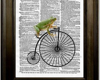 Frog on High Wheel Bike Art Print 8 x 10 Dictionary Page - Frog Riding Victorian Bicycle - Whimsical Pop Art