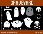 Graveyard Clip Art - Digital Clipart for Personal & Commercial Use