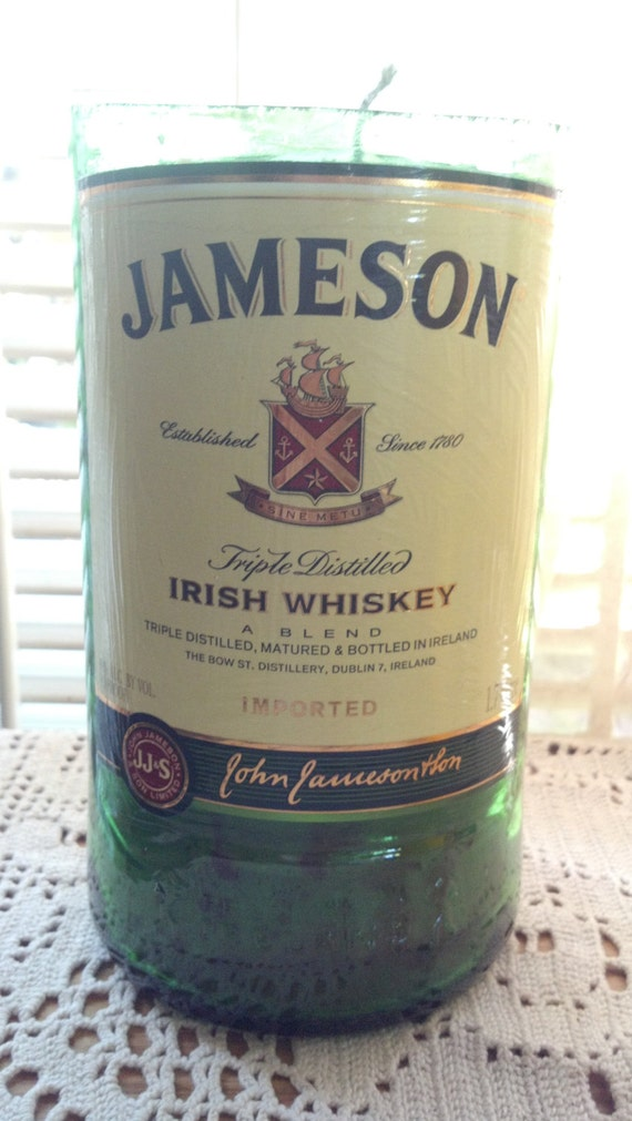 HUGE Jameson Whisky Glass Recycled bottle  Candle OOAK