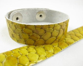 """Patent Snake Yellow Leather Cuff Bracelet 5/8"""" Wide, #57-85851649"""