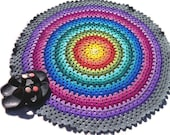 Crochet rug, mandala rug, crochet round rug, kaleidoscope rainbow rug, bedroom rug, bath mat, wall hanging, MADE TO ORDER