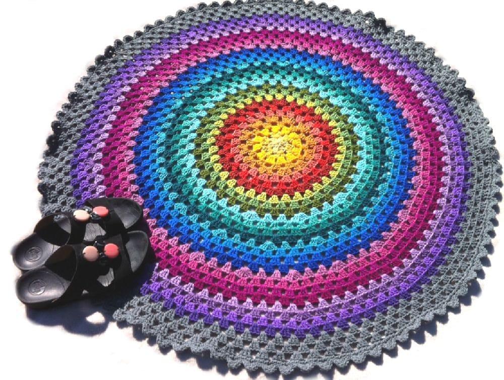 Crocheting Round Rugs : Crochet rug mandala rug crochet round rug by CrochetKaleidoscope
