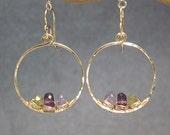 Petite hoop earrings amethyst, tanzanite, vessonite Bohemian 46