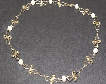 Ivory pearl with hammered swirl Necklace 244