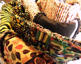 Quilt, Adult Teen or Child's Rag Blanket - African Safari
