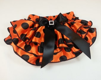 HALLOWEEN DIAPER COVER, Orange Satin Ruffled Diaper Cover with Black Polka Dots and Bow with Rhinestone Embellishment, Ruffled Baby Bloomers