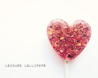 6 Gourmet Lollipops //  Rose & Honey Hearts  // Edible Flowers // Summer Wedding // Pink Favors // Rose Lollipops //