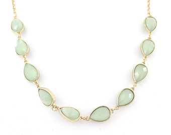 Gorgeous Gold-tone Fruit Green Faceted Beads Necklace,M1