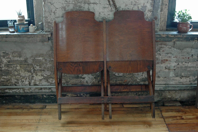 Vintage Wooden Folding Stadium Chairs Stadium Bench Two Seater